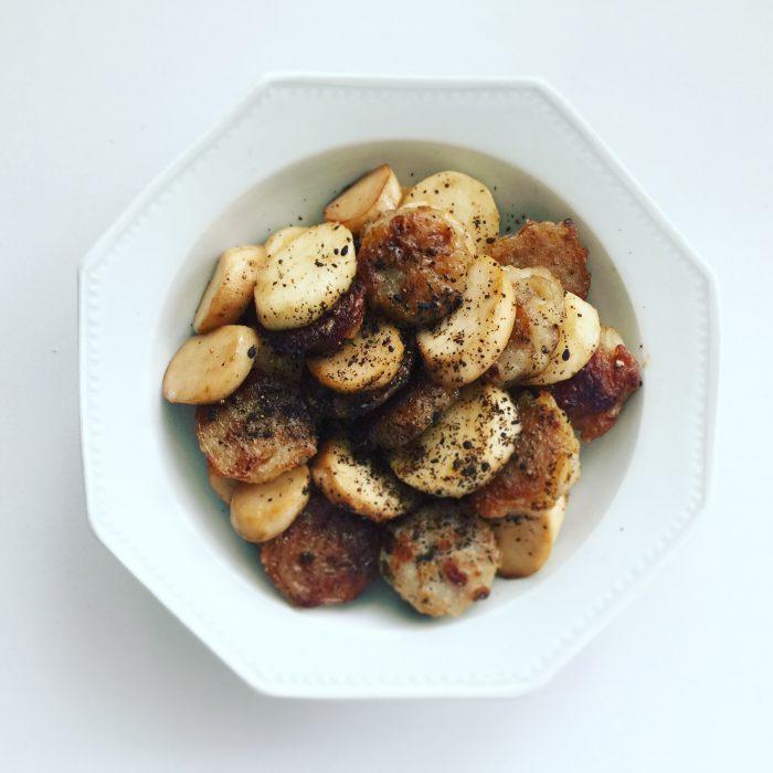 塩麹エリンギと長芋と焼売の炒め物